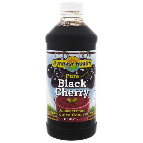 Dynamic Health Laboratories, Pure Black Cherry, 100% Juice Concentrate, Unsweetened, 16 fl oz (473 ml) فوائد