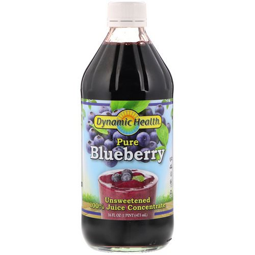 Dynamic Health Laboratories, Pure Blueberry, 100% Juice Concentrate, Unsweetened, 16 fl oz (473 ml) فوائد