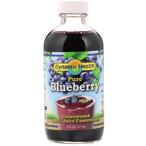 Dynamic Health Laboratories, Pure Blueberry, 100% Juice Concentrate, Unsweetened, 8 fl oz (237 ml) فوائد