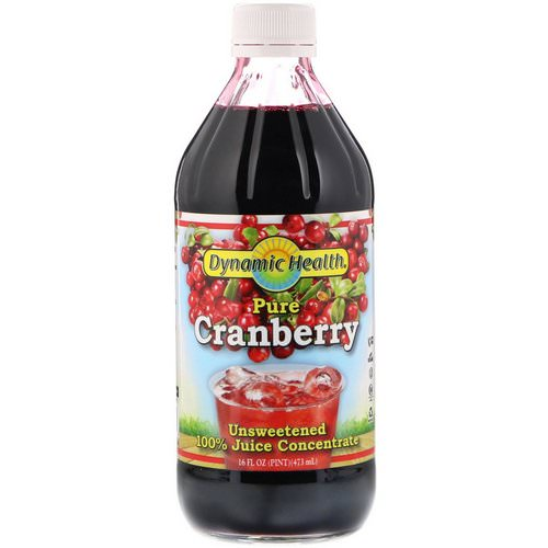 Dynamic Health Laboratories, Pure Cranberry, 100% Juice Concentrate, Unsweetened, 16 fl oz (473 ml) فوائد
