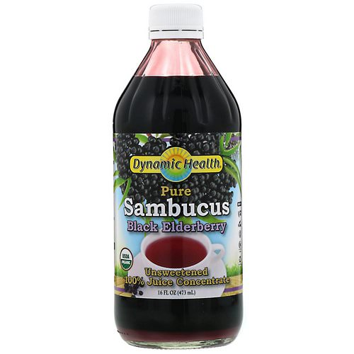 Dynamic Health Laboratories, Pure Sambucus Black Elderberry, 100% Juice Concentrate, Unsweetened, 16 fl oz (473 ml) فوائد