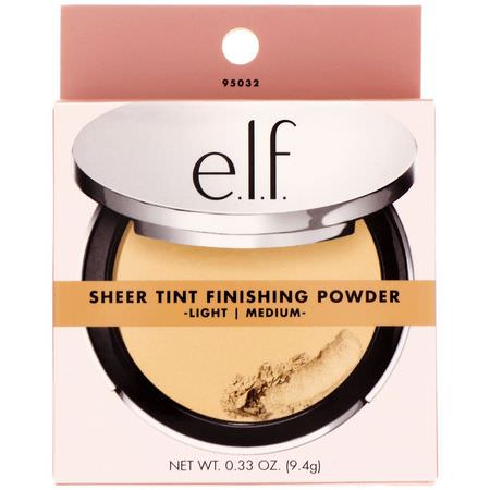 E.L.F, Beautifully Bare, Sheer Tint Finishing Powder, Light/Medium, 0.33 oz (9.4 g):ب,درة مضغ,طة,جه