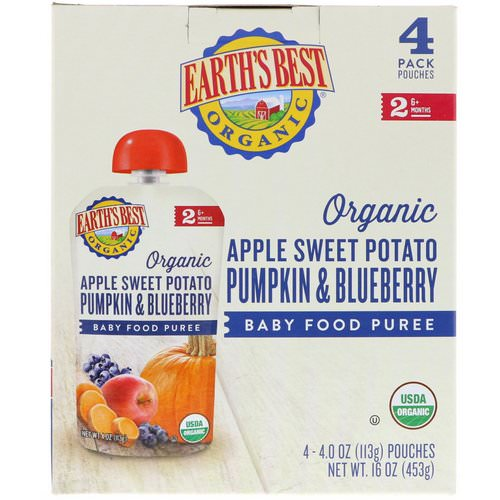 Earth's Best, Organic Apple Sweet Potato, Pumpkin & Blueberry, Baby Food Puree, 6+ Months, 4 Pouches, 4.0 oz (113 g) Each فوائد