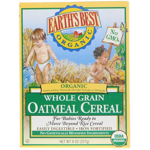 Earth's Best, Organic Whole Grain Oatmeal Cereal, 8 oz (227 g) فوائد