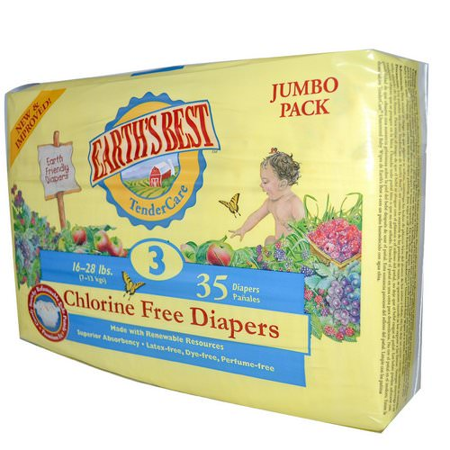 Earth's Best, TenderCare, Chlorine Free Diapers, Size 3, 16-28 lbs, 35 Diapers فوائد