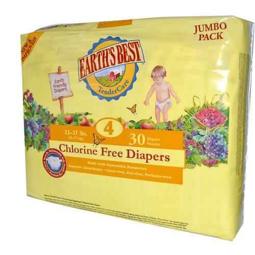 Earth's Best, TenderCare, Chlorine Free Diapers, Size 4, 22-37 lbs, 30 Diapers فوائد