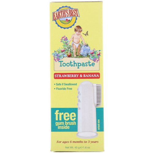 Earth's Best, Toothpaste, Strawberry & Banana, 1.6 oz (45 g) فوائد