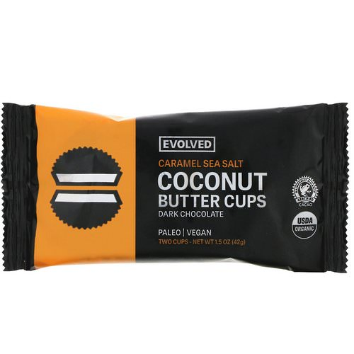 Evolved Chocolate, Dark Chocolate, Coconut Butter Cups, Caramel Sea Salt, Two Cups, 1.5 oz (42 g) فوائد