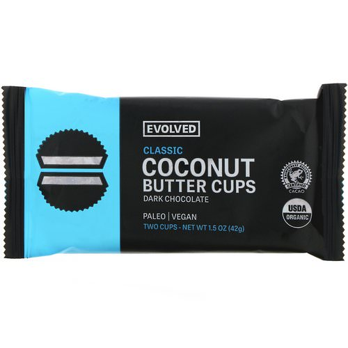 Evolved Chocolate, Dark Chocolate, Coconut Butter Cups, Classic, Two Cups, 1.5 oz (42 g) فوائد