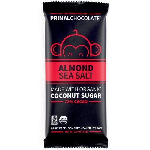 Evolved Chocolate, PrimalChocolate, Almond & Sea Salt 72% Cacao, 2.5 oz (71 g) فوائد