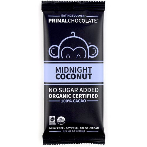 Evolved Chocolate, PrimalChocolate, Midnight Coconut 100% Cacao, 2.3 oz (65 g) فوائد