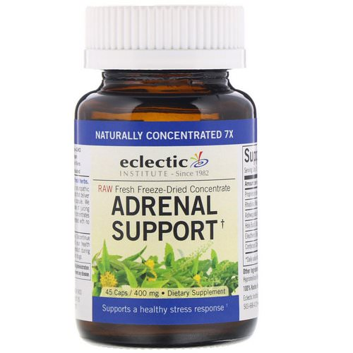 Eclectic Institute, Adrenal Support, 400 mg, 45 Caps فوائد