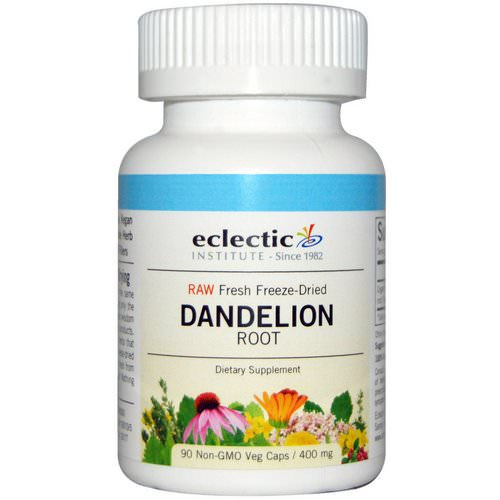 Eclectic Institute, Dandelion Root, Raw, 400 mg, 90 Non-GMO Veggie Caps فوائد