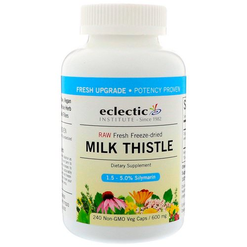 Eclectic Institute, Milk Thistle, 600 mg, 240 Non-GMO Veg Caps فوائد