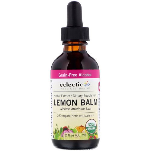 Eclectic Institute, Organic Lemon Balm, 2 fl oz (60 ml) فوائد