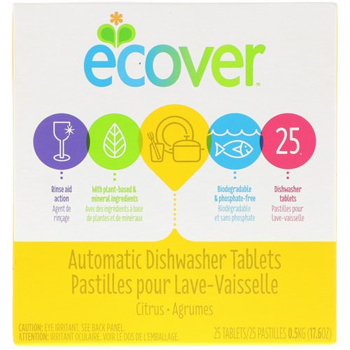 Ecover, Automatic Dishwasher Tablets, Citrus, 25 Tablets, 17.6 oz (0.5 kg) فوائد
