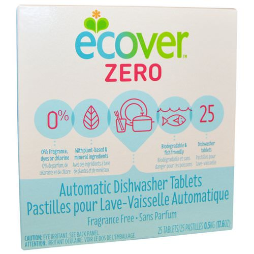 Ecover, Zero, Automatic Dishwasher Tablets, Fragrance Free, 25 Tablets, 17.6 oz (0.5 kg) فوائد