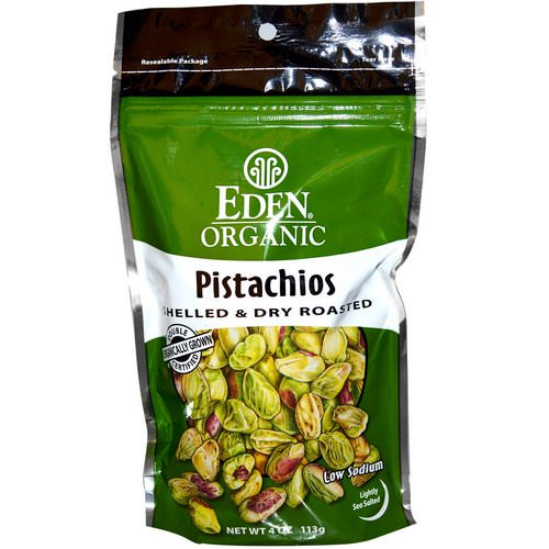 Eden Foods, Organic, Pistachios, Shelled & Dry Roasted, Lightly Sea Salted, 4 oz (113 g) فوائد
