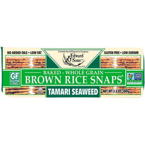 Edward & Sons, Baked Whole Grain Brown Rice Snaps, Tamari Seaweed, 3.5 oz (100 g) فوائد