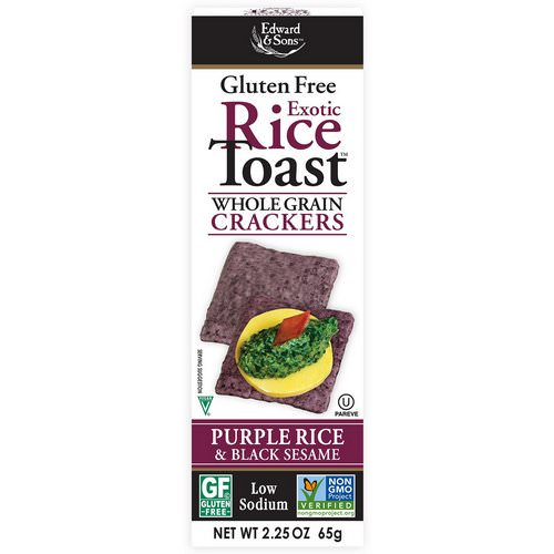 Edward & Sons, Exotic Rice Toast, Whole Grain Crackers, Purple Rice & Black Sesame, 2.25 oz (65 g) فوائد
