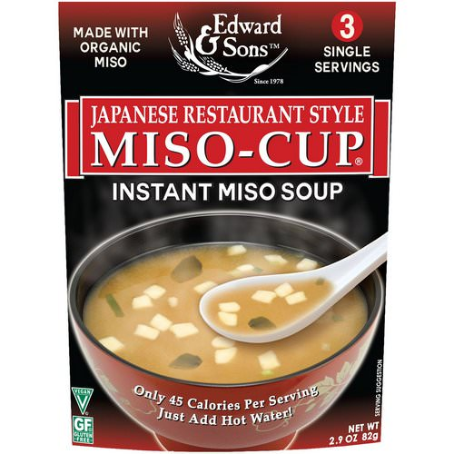 Edward & Sons, Miso-Cup, Japanese Restaurant Style, 3 Individual Servings فوائد