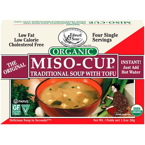Edward & Sons, Organic Miso-Cup, Traditional Soup with Tofu, 4 Single Serving Envelops, 9 g Each فوائد