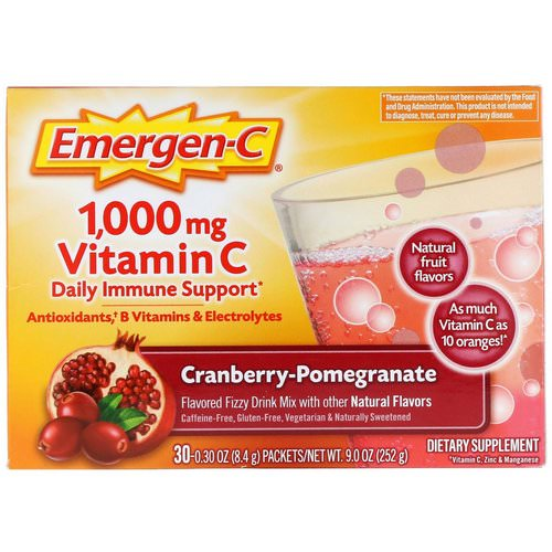 Emergen-C, Vitamin C, Cranberry-Pomegranate, 1,000 mg, 30 Packets, 0.30 oz (8.4 g) Each فوائد
