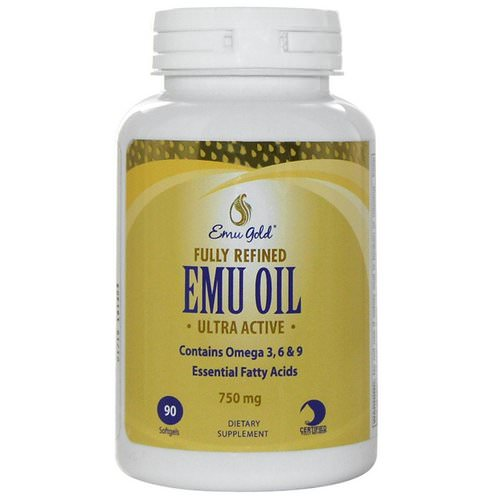 Emu Gold, Fully Refined EMU Oil, Ultra Active, 750 mg, 90 Softgels فوائد