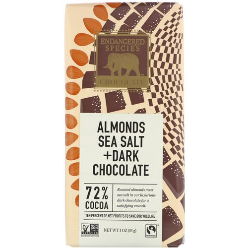 Endangered Species Chocolate, Almonds Sea Salt + Dark Chocolate, 3 oz (85 g) فوائد