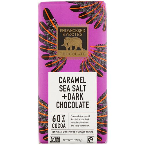 Endangered Species Chocolate, Caramel Sea Salt + Dark Chocolate, 3 oz (85 g) فوائد
