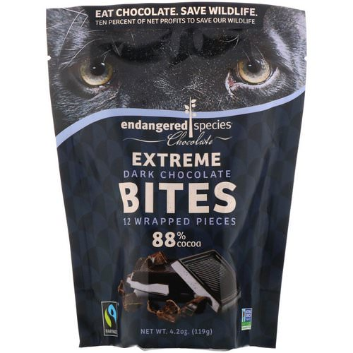 Endangered Species Chocolate, Extreme Dark Chocolate Bites, 12 Wrapped Pieces, 4.2 oz (119 g) فوائد