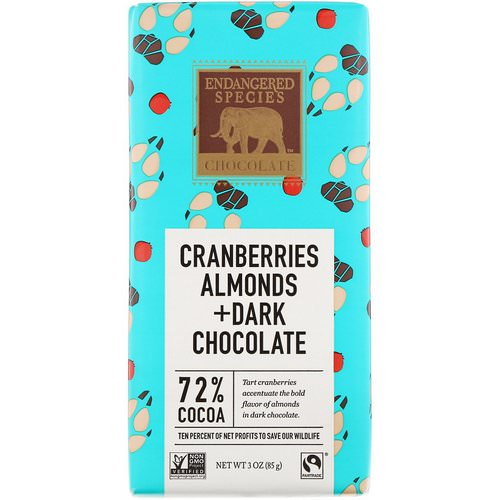 Endangered Species Chocolate, Cranberries, Almonds + Dark Chocolate, 3 oz (85 g) فوائد