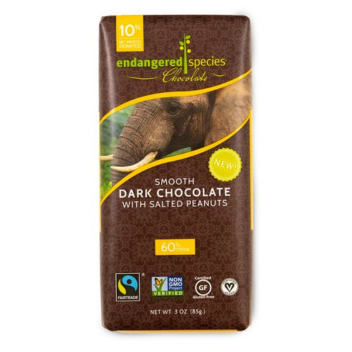 Endangered Species Chocolate, Smooth Dark Chocolate with Salted Peanuts, 3 oz (85 g) فوائد