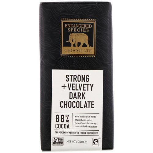 Endangered Species Chocolate, Strong + Velvety Dark Chocolate, 3 oz (85 g) فوائد