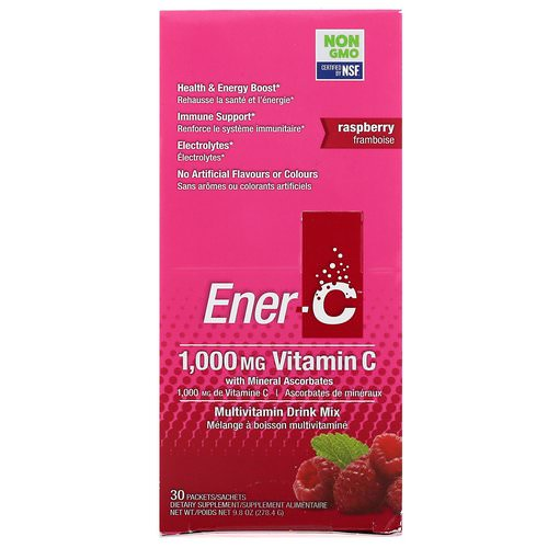 Ener-C, Vitamin C, Multivitamin Drink Mix, Raspberry, 30 Packets, 9.8 oz (277 g) فوائد
