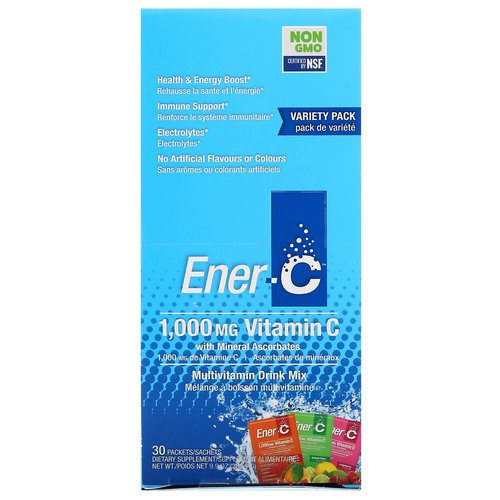Ener-C, Vitamin C, Multivitamin Drink Mix, Variety Pack, 30 Packets, 9.9 oz (282.9 g) فوائد