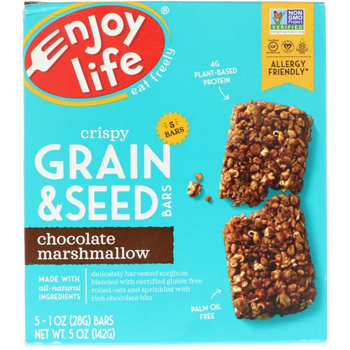 Enjoy Life Foods, Crispy Grain & Seed Bars, Chocolate Marshmallow, 5 Bars, 1 oz (28 g) Each فوائد