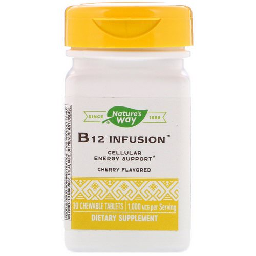 Nature's Way, B12 Infusion, Cherry Flavor, 1,000 mcg, 30 Chewable Tablets فوائد