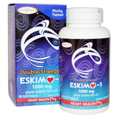 Enzymatic Therapy, Eskimo-3, Double Strength, 1000 mg, 90 Softgels فوائد