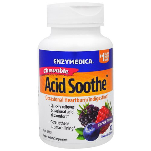 Enzymedica, Chewable Acid Soothe, Berry Flavor, 30 Chewable Tablets فوائد