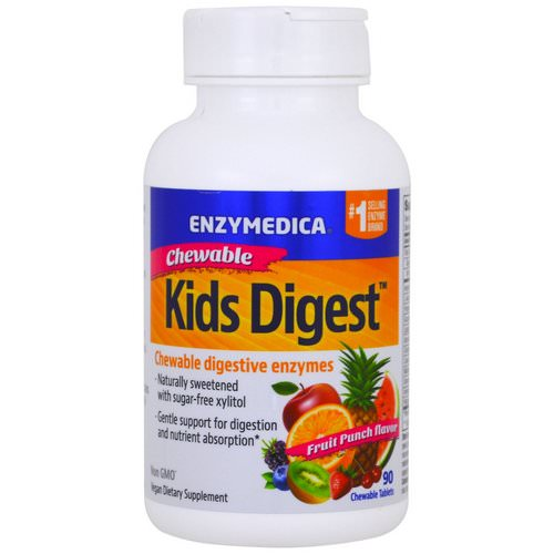 Enzymedica, Kids Digest, Chewable Digestive Enzymes, Fruit Punch, 90 Chewable Tablets فوائد