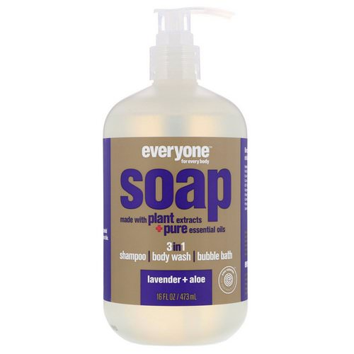 EO Products, Everyone Soap, 3 in 1, Lavender + Aloe, 16 fl oz (473 ml) فوائد