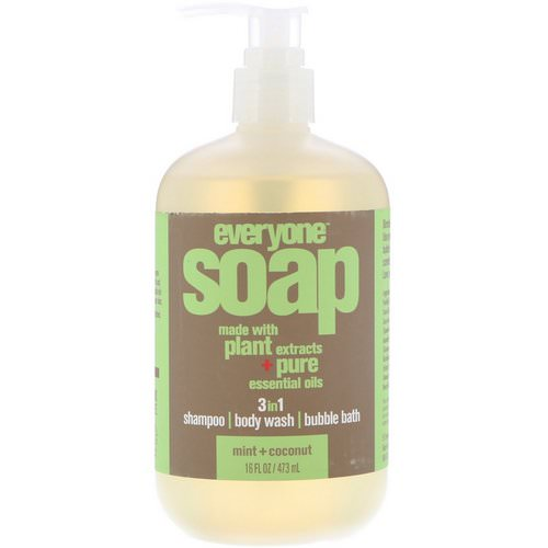 EO Products, Everyone Soap, 3 in 1, Mint + Coconut, 16 fl oz (473 ml) فوائد