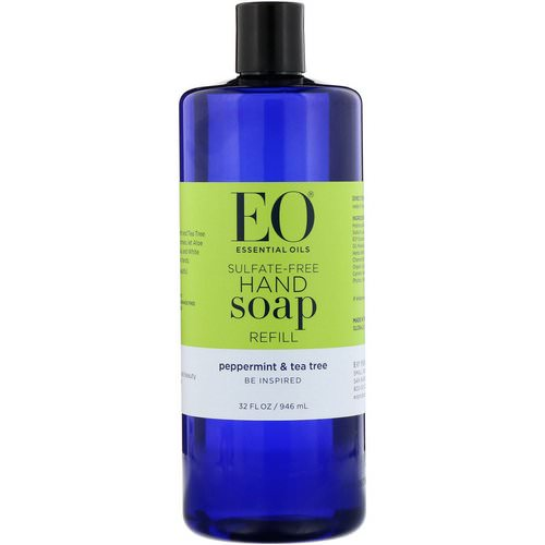 EO Products, Hand Soap Refill, Peppermint & Tea Tree, Sulfate-Free, 32 fl oz (946 ml) فوائد