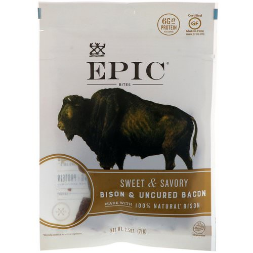 Epic Bar, Bites, Bison & Uncured Bacon, Sweet & Savory, 2.5 oz (71 g) فوائد