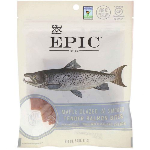 Epic Bar, Bites, Maple Glazed & Smoked, Tender Salmon, 2.5 oz (71 g) فوائد