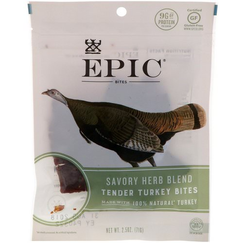 Epic Bar, Bites, Tender Turkey, Savory Herb Blend, 2.5 oz (71 g) فوائد