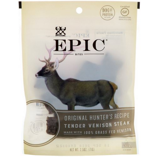 Epic Bar, Bites, Tender Venison Steak, Original Hunter's Recipe, 2.5 oz (71 g) فوائد