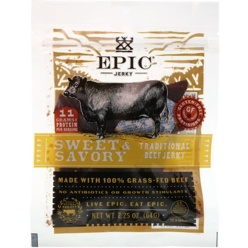 Epic Bar, Traditional Beef Jerky, Sweet & Savory, 2.25 oz (64 g) فوائد