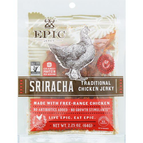 Epic Bar, Traditional Chicken Jerky, Sriracha, 2.25 oz (64 g) فوائد